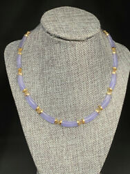 Vintage 14k Gold Chinese Purple Jade Link Necklace Oriental Clasp