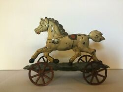 Francis Field And Francis Early American Tin Horse Pull Toy