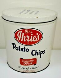 Vintage Mrs. Ihrie's Potato Chips Tin Can Baltimore Md A Pip Of A Chip