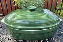 Emile Henry Covered Dutch Oven Casserole Green Stoneware Oval 15 Length Euc