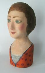Early Papier-mache Milliner's Head Bonnet Or Wig Stand, French, Vintage Clothing