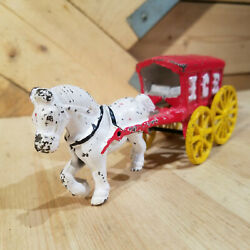 Horse And Ice Wagon Cast Iron Painted Toy Vintage Antique - Swanky Barn