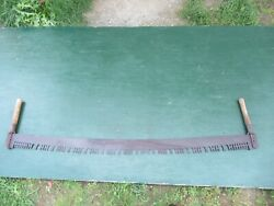 Vintage Crosscut Saw Tool Has 60 Metal Blade With Two Wooden Handle