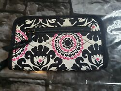 Thirty One Soft Wallet Pink Pop Medallion New Without Bag Black White Zip