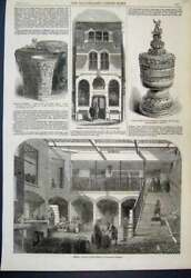 Original Old Antique Print 1861 Messrs Gilbey Wine Store Titchfield Street 19th