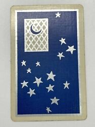 1a One Single Swap Playing Card Artistic Art Deco Nouveau Silver Stars Moon