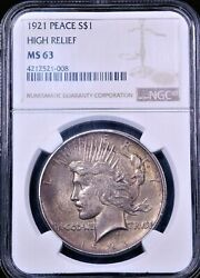 1921 High Relief Peace Silver Dollar Ngc Ms63 Gold Bronze Nice Luster Ge916
