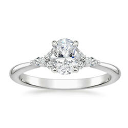 Solid 950 Platinum Oval 0.88 Carat Real Diamond Wedding Rings Size 5.5 6.5 7 8 9