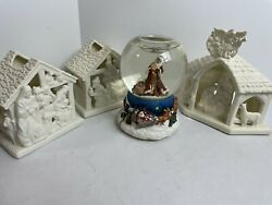 Partylite Candle Holder And Snow Globe Lot P7312 P7313 P7314 P7618 Complete W/ Box