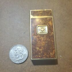 Working Serviced Vintage Colibri Touch Sensor Lighter Tortise Shell Gold Tone