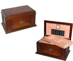 Cigar Humidor 75 Ct Antique Style Distressed Maple Humidifier Hygrometer