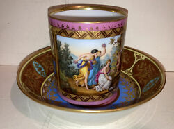 Exquisite Antique Royal Vienna Porcelain Cup And Saucer Hand Painted Neoclassical