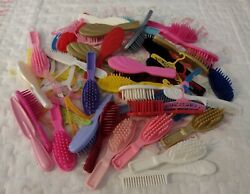 C, Lot Of Vintage Barbie Brushes, Combs And Hangers, Guc