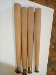 Set Of 4 Tapered Unfinished Wood 16 Mid Century Modern Furniture Table Legs