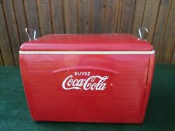 Great 1960s Red Coca Cola Cooler Chest With Lid Drink Soda Great Decoration