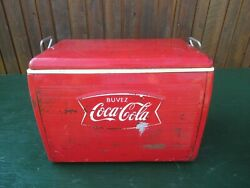 Nice 1960s Red Coca Cola Cooler Chest With Lid Drink Soda Great Decoration