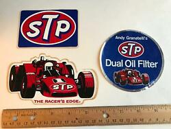 Vtg Andy Granatelli Stp Dual Oil Filter Racer's Edge Indy Car Decal Sticker Lot