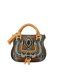 Sold Out New Marcie Mini Python-embossed Double-carry Satchel Light Blue