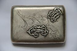 1916 Antique 84 Silver Imperial Russia Cigarette Case With Beautiful Poem Rare