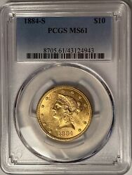 1884-s 10 Liberty Gold Eagle Pcgs Ms61 — Just 124,250 Minted