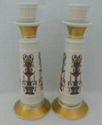 Lenox Pair Two Candlestick Candle Holders Lido Ivory Hand Decorated 24k Gold
