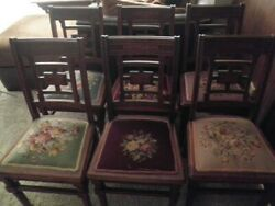 Set Of 6 Eastlake Victorian Mahogany Side Dining Chairs Embroidered Tapestry