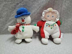 Vintage Soft Dreams Snowman Waffle My First Christmas Rattle Baby Plush Toy Set