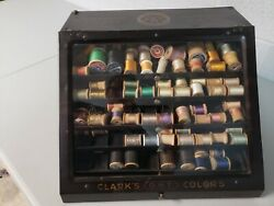 Clarkand039s O.n.t. Five Tray Metal Thread Antique Display Spool Cabinet