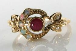 Lovely 9ct 9k Gold Sun Moon Crest Indian Ruby Opal Pearl Art Deco Ins Ring