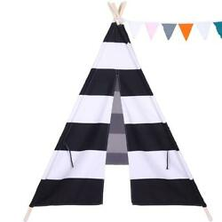 Large Kids Play Teepee Cotton Canvas Tent Indoor Sleeping Dome Playhouse Black