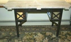 Antique Oak Library Marble Top Table Mission Arts And Crafts Desk