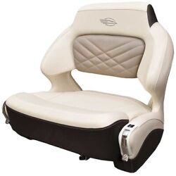 Chaparral Boat Helm Seat 31.00756 | Wide Bolster Cream Brown W/ Swivel