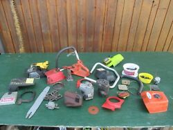 Vintage Large Lot Of Assorted Chainsaw Chain Saw For Parts
