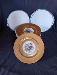 12 Heinrich And Co Gold Encrusted Cobalt And Floral Dinner Service Plates A1cond.