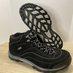 Ryka -womenandrsquos Size 9.5- Black Suede -lined Hiking/walking Boots Ankle High Shoes
