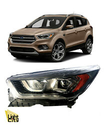 2017-2019 Ford Escape Driver Side Halogen Headlight With Led Drl Chrome Lh