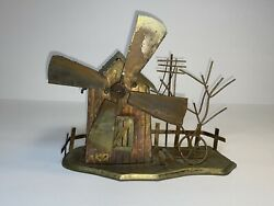 Vtg Copper Tin Music Box Country Scene Spinning Windmill Metal Work