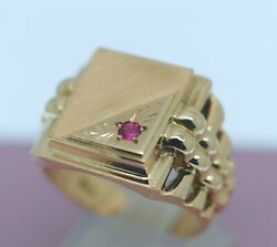 Estate Vintage Jewellery 14k Rose Gold Mens Ring Natural Ruby Antique Jewerly