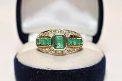 Vintage Original 18k Gold Natural Diamond And Emerald Decorated Strong Ring
