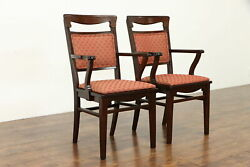 Pair Of Antique Mission Oak Arts And Crafts Craftsman Desk Or Dining Chairs 37975