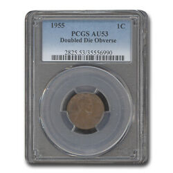 1955 Lincoln Cent Doubled Die Obverse Au-53 Pcgs - Sku158097