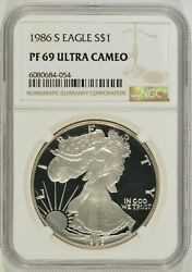 1986-s Proof American Silver Eagle 1 Ngc Pf69 Ultra Cameo 6080684-054