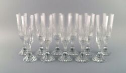 Baccarat France. 11 Art Deco Assas Champagne Flutes In Crystal Glass.