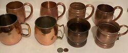8 Vintage Metal Copper And Brass Cups, Mugs, Assorted Copper Cups, Kitchen Decor