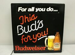 Vintage This Buds For You Light Up Wall Hanging Budweiser Sign 18x18x4