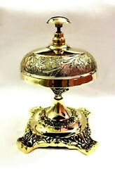 Vintage Solid Brass Table Bell Antique Nautical Hotel Counter Service Bell Decor