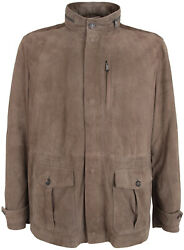 Paul And Shark Yachting Men's Goat Leather Jacket Perforated Brown Size 4xl