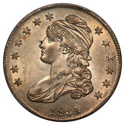 1834 50c O-117 Small Date Small Letters Capped Bust Half Dollar Pcgs Ms62