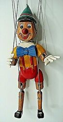 Vintage Carved Wood Wooden Marionette Puppet Pinocchio Hand Painted 15