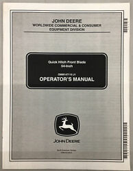 John Deere 54in Quick Hitch Front Blade Operator's Manual M147110 4010 4100